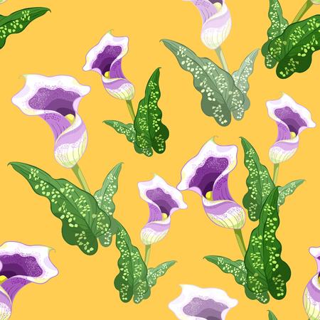 seamless pattern calla Picasso flower purple on yellow  Vector illustration