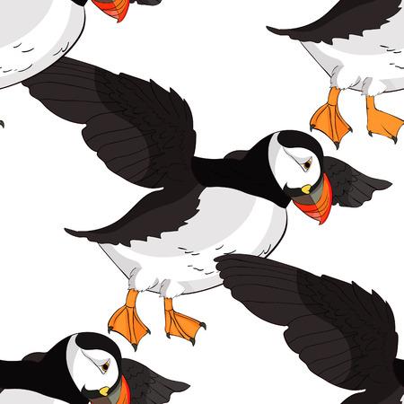 seamless pattern Bird deadlock Australian Atlantic  flight Vector illustration Иллюстрация