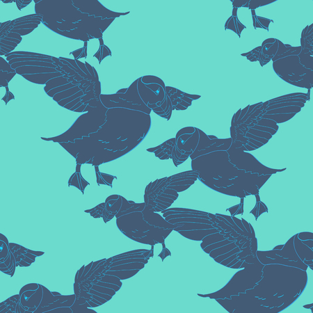 seamless pattern Bird deadlock Australian Atlantic in flight Vector illustration