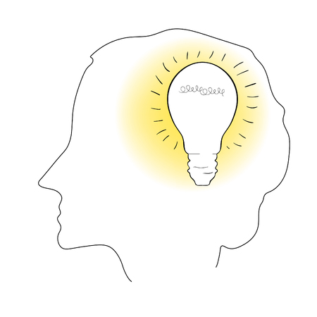 Person face profile of insight with lightbulb  in colouring style illustration.