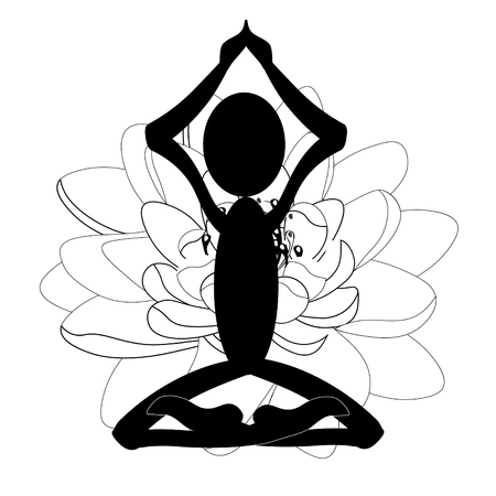 Logo illustration of man sitting in lotus position meditating on a flower background.