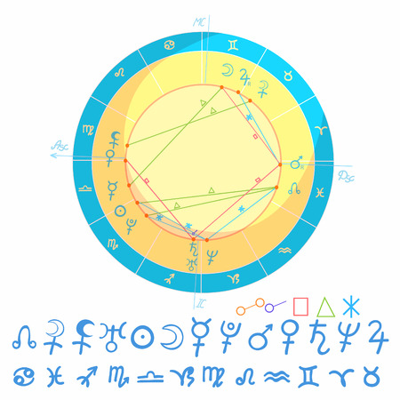 Natal astrological chart signs illustration Illustration