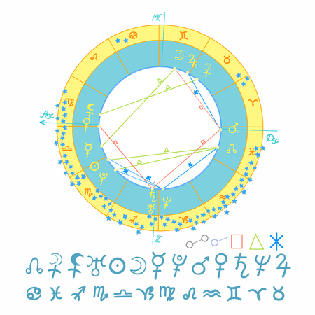 Natal astrological chart signs illustration Vektorové ilustrace