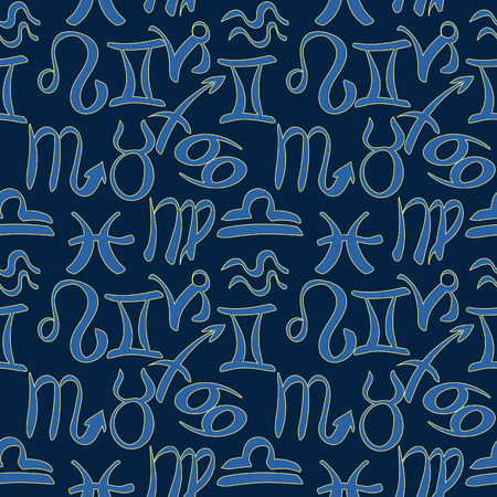 Natal astrological seamless pattern illustration.