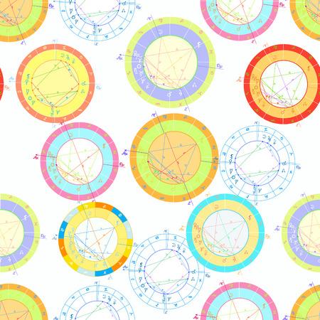 Natal astrological coloured charts seamless pattern illustration. Ilustração