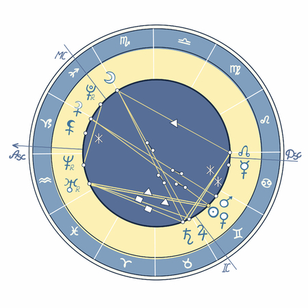 Blue natal astrological chart illustration