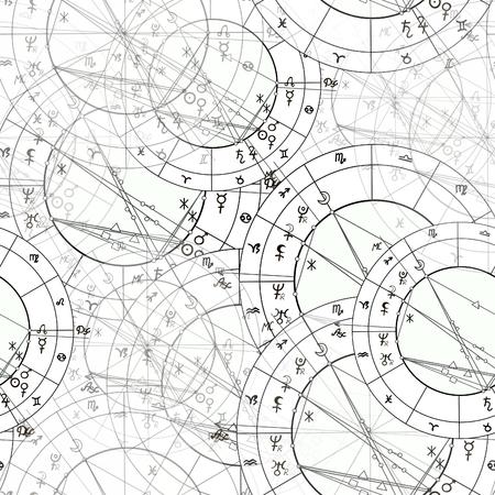 흑백에서 출산 점성술 원활한 패턴 그림.