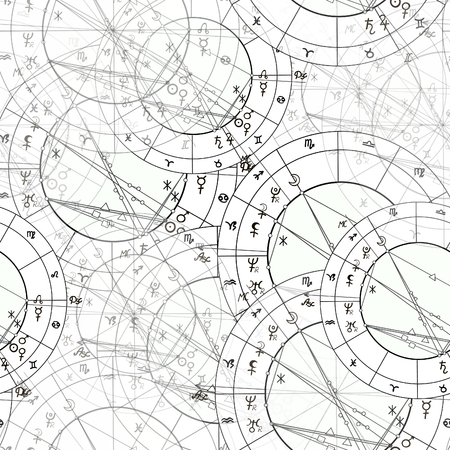 Natal astrological chart seamless pattern illustration in black and white.