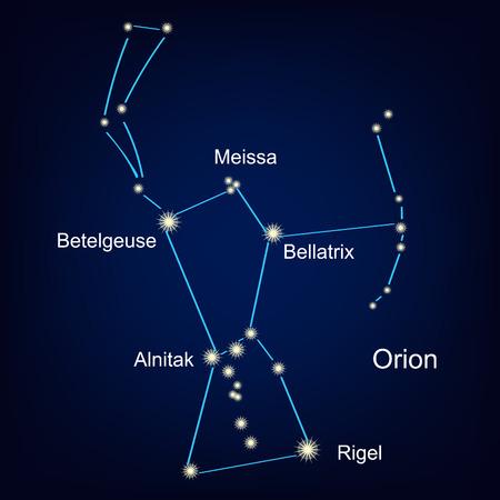 Constelación orion hunter contra la ilustración del cielo.