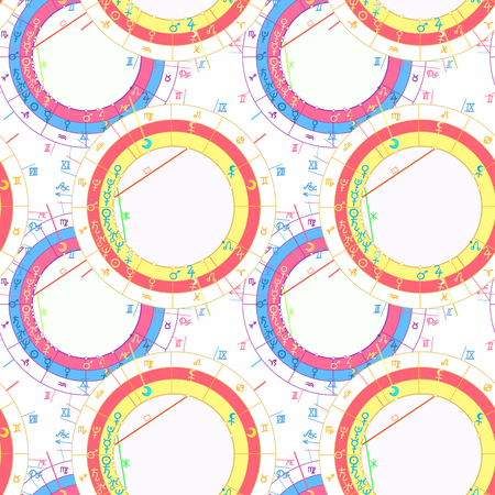 Colorful synastry natal astrological chart seamless pattern illustration.