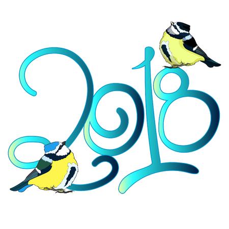 blue tit  plump bird 2018 new year. vector illustration