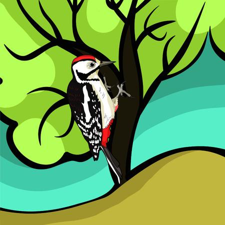 de grote bonte specht jong op boom vector illustratie