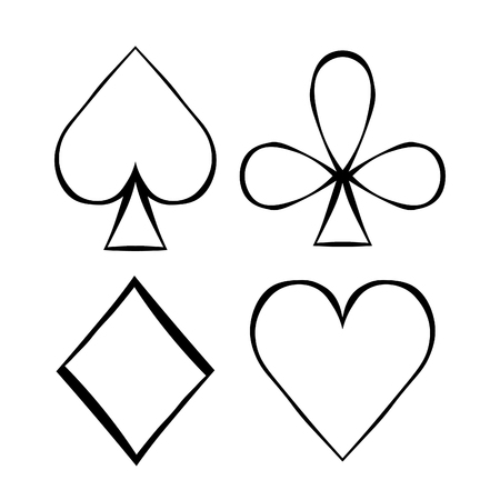 coloring playing cards suit Bubi, hearts, crosses, blame vector illustration