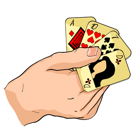 playing cards in the hands vector illustration Illustration
