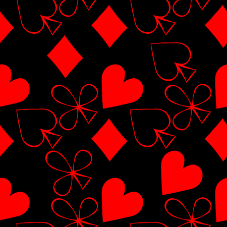 seamless pattern playing cards Bubi, hearts, crosses, blame. vector illustration