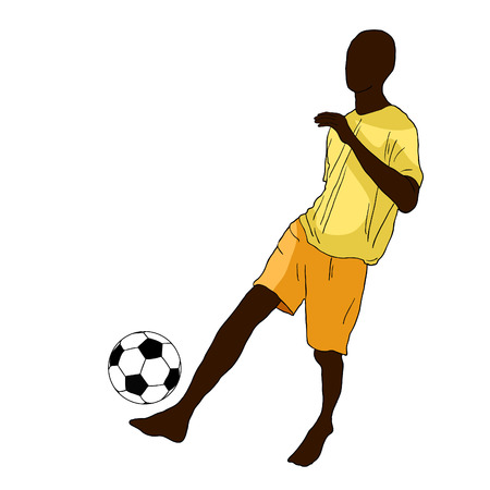 Dark-skinned man playing soccer ball.