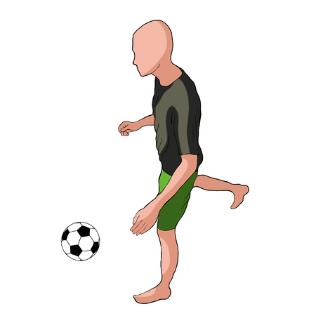 Man playing soccer ball. Illustration