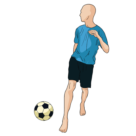 Man is playing soccer ball vector illustration