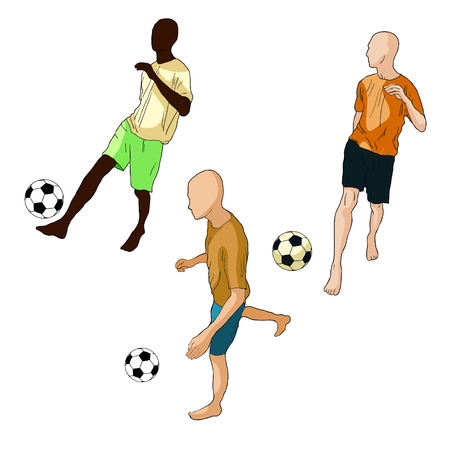 set man is playing soccer ball vector illustration