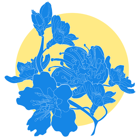 Silhouette flower of almond blossoms a nut. vector illustration