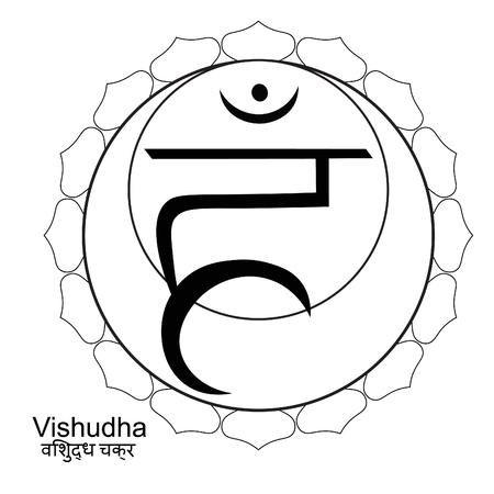 Coloring Indian of vishuddha chakra vector illustration