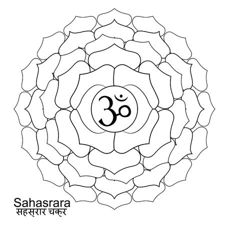 Coloring sahasrara Indian of chakra. vector illustration Illustration