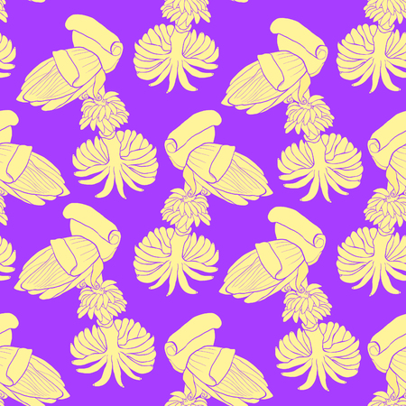 Seamless pattern banana flower India exotica vector illustration