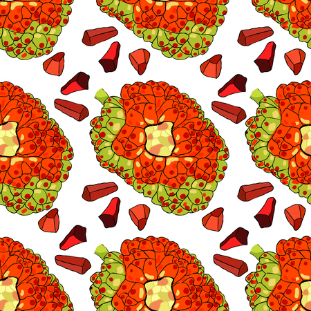 Seamless pattern pandan with slices fruit of Thailand vector illustration