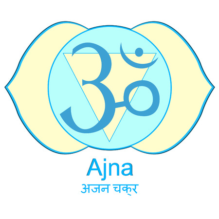 the Indian of ajna chakra vector illustration