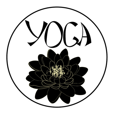 Logo yoga with lotus flower. vector illustration