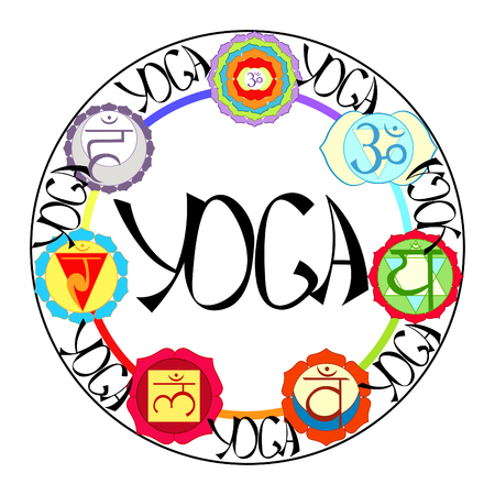 Logo yoga chakra in a circle vector illustration Illustration