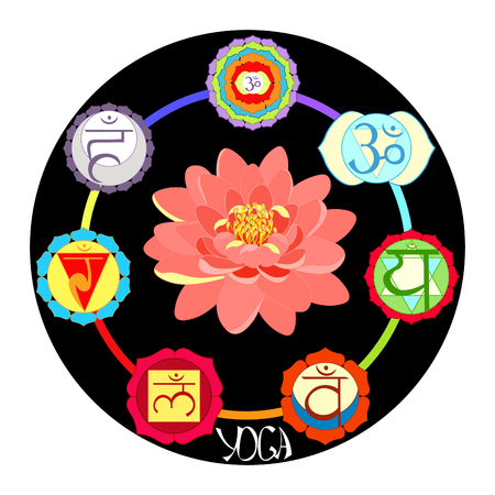 Logo yoga chakra with lotus flower vector illustration
