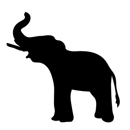 silhouette  the elephant sideways up the trunk.  vector illustration 일러스트
