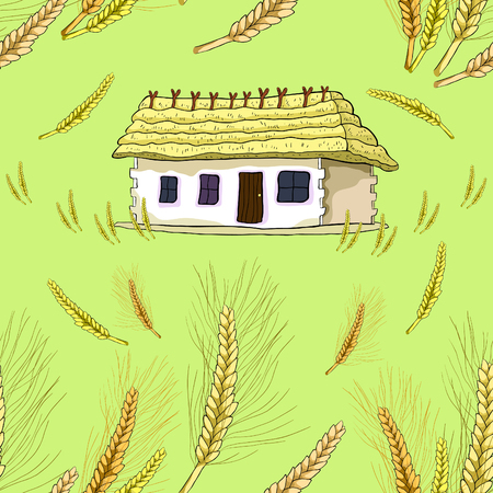 seamless pattern wheat germ on the background of a house with thatched roof vector illustration