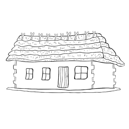 Coloring house with a thatched roof vector illustration