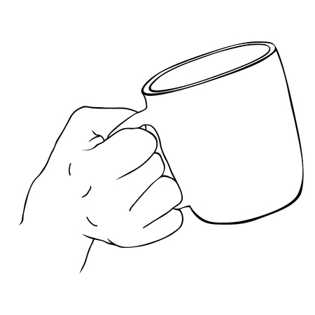 the hand holds the drink in  mug  vector illustration