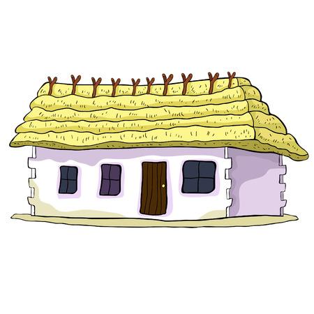 huis met een rieten dak vectorillustratie Stock Illustratie