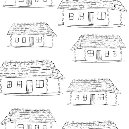 seamless pattern coloring house with a thatched roof  vector illustration