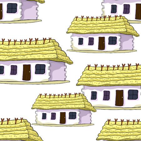 naadloze patroon huis met een rieten dak vectorillustratie Stock Illustratie