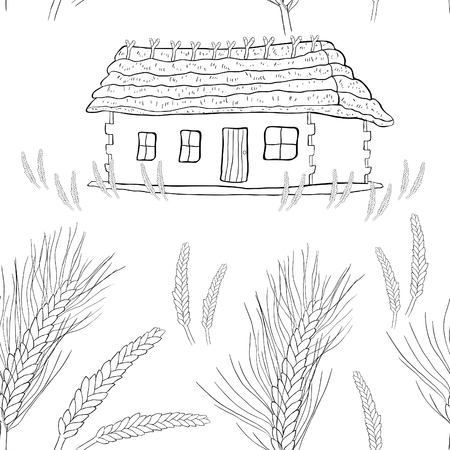 seamless pattern wheat germ coloring of a house with thatched roof vector illustration