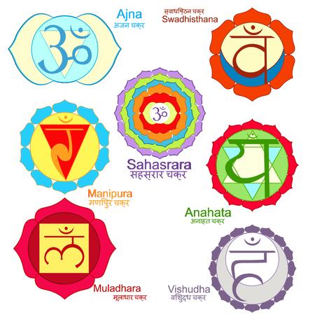 Indian chakra  a color set. vector illustration