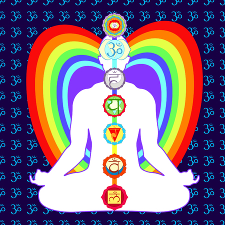 meditation yoga man with  a chakras. vector illustration