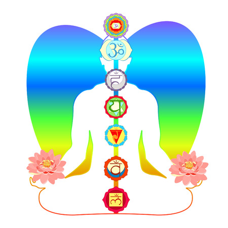 meditation yoga man with chakras and Lotus flower vector illustration Illustration