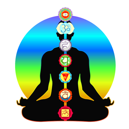 Meditation yoga silhouette man with chakras vector illustration.