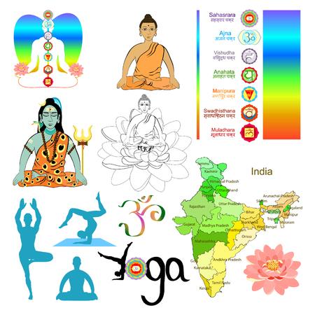 Set of  India meditation, yoga shiva vector illustration