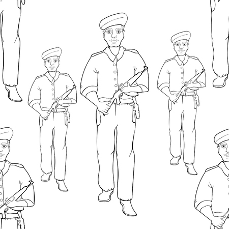coloring seamless pattern Indian policeman with a gun.  vector illustration  イラスト・ベクター素材
