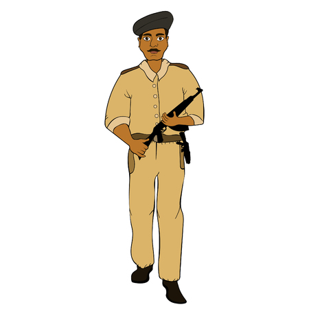 Indian policeman in the service of the state with a gun  vector illustration Çizim