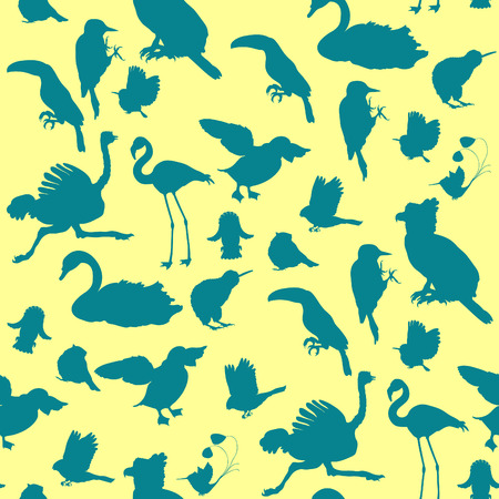 seamless pattern silhouette owl, toucan, bluegrass tit, kiwi bird, harpy, bullfinch, woodpecker, swan, hummingbird. vector illustration
