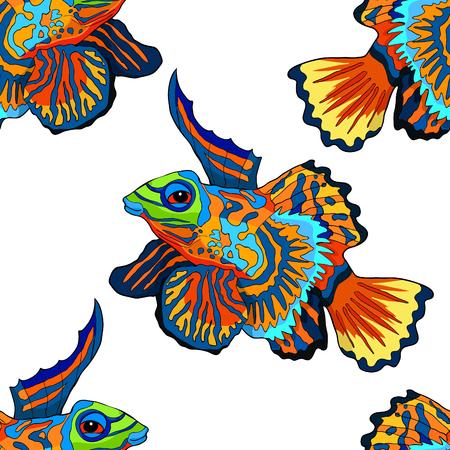 seamless pattern Mandarin fish is Chinese perch  vector illustration Illustration