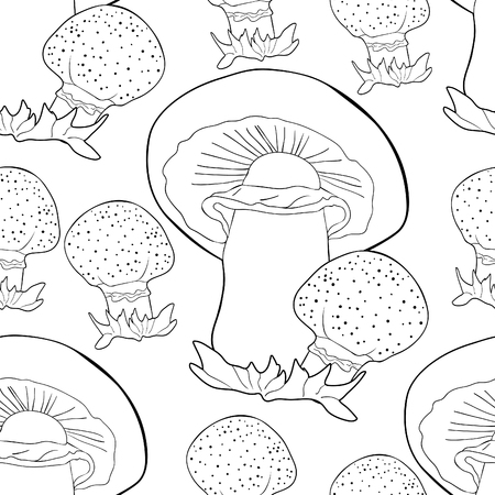 coloring seamless pattern  is nature mushrooms champignons  vector illustration